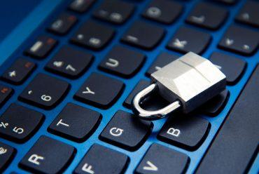 Padlock on laptop