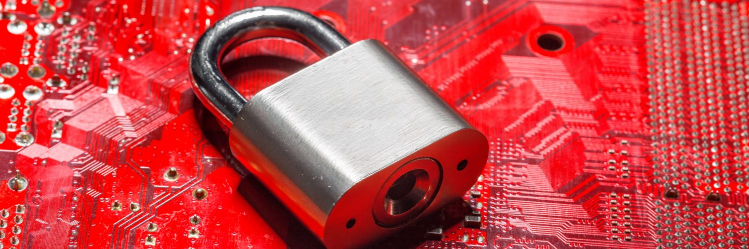 Lock on red background